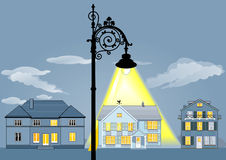 Family house lights stock illustration