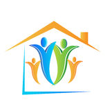 Family and house logo vector Royalty Free Stock Photo