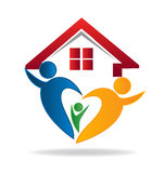Family house logo. House and happy family logo Royalty Free Stock Photography