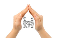 Family in house made of hands Royalty Free Stock Photography