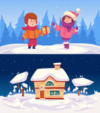 Family house. Merry Christmas illustration Stock Photos