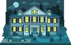 Family house in the night (diorama) Royalty Free Stock Photography