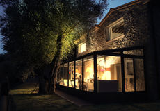 Family house by night. With garden Royalty Free Stock Photo