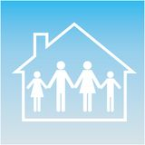 Family in house. Pictogram. Set web icon Royalty Free Stock Photography