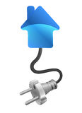 Family house with plug connection ready to get power Stock Photo