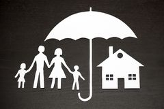 Family and house protection coverage concept. Concept of family and house protection coverage stock images