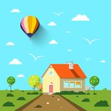 Family House with Road and Hot Air Balloon. On Blue Sky. Flat Design Vector Landscape Stock Illustration