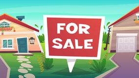 family house for sale or rent illustration. red cartoon lettering sign. countryside village landscape nature stock illustration