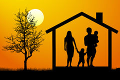 Family house silhouette vector. Stock Photo