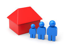 Family and house in simple figures Royalty Free Stock Image
