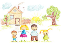 Family and House sketch color Royalty Free Stock Image