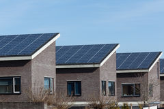Family house with solar panels. For alternative energy Stock Images