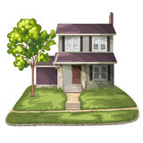 Family House. On Suburban Residential Estate Royalty Free Stock Photography