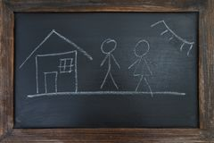 Family, house and sun, painted chalk on a black board. Family, house and sun, painted chalk on a black board Stock Image