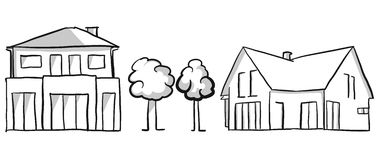 Family house and villa vector sketch Royalty Free Stock Image