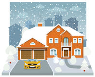 Family house in winter (diorama) stock illustration