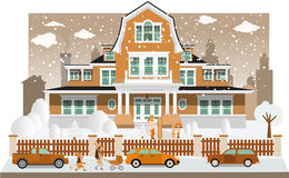 Family house in winter (diorama) Royalty Free Stock Photo