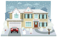Family house in winter (diorama) Royalty Free Stock Images