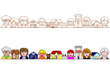 Family and houses border set Royalty Free Stock Image