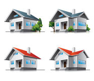 Family houses cartoon icons Stock Images
