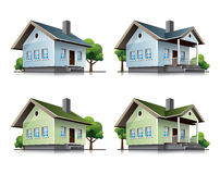 Family houses cartoon icons. Two detailed family houses vector icons in cartoon style Royalty Free Stock Photography