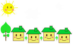Family houses cartoon style Stock Images