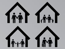 Family with houses Stock Image