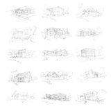 Family Houses Sketches Royalty Free Stock Images