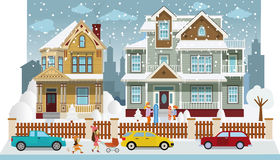 Family houses in winter (diorama) Royalty Free Stock Image