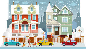 Family houses in winter (diorama) Royalty Free Stock Photo