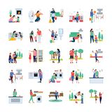 Family, Housewife, Family Walking Outdoor Flat Vectors vector illustration