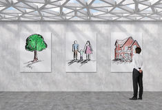 Family and housing. Businessman looking on  family and housing concept on poster Royalty Free Stock Images