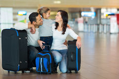 Family hugging airport Stock Photos