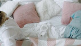 Family in hurry to wake up quickly to fulfill their plans for day or idea come to mind top-down view of bed by caring