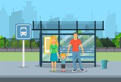 Family husband and wife with kid boy. Waiting for transit on a city bus stop. vector illustration in flat style Royalty Free Stock Image