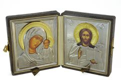 Family_icon. Family orthodox christian icon isolated stock images