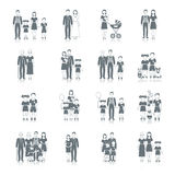 Family Icon Black. Set with loving couple male and female friends characters isolated vector illustration Royalty Free Stock Image