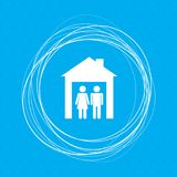Family Icon on a blue background with abstract circles around and place for your text. Illustration Royalty Free Stock Photos