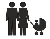 Family. Icon of heterosexual couple with baby in pushchair Royalty Free Stock Images