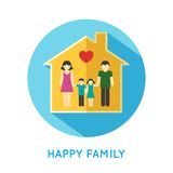 Family icon home. Happy family flat concept icon with parents and two children at home vector illustration Royalty Free Stock Photo