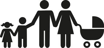 Family icon Parents with children and buggy. Vector Royalty Free Stock Photo