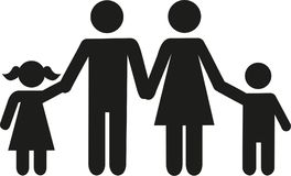 Family icon Parents with children son and daughter. Vector stock illustration