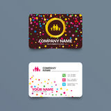 Family icon. Parents with children symbol. Business card template with confetti pieces. Family icon. Parents with children symbol. Family insurance. Phone, web Stock Images