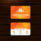 Family icon. Parents with children symbol. Business or visiting card template. Family icon. Parents with children symbol. Family insurance. Phone, globe and Stock Image
