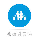Family icon. Parents with children symbol. Family insurance. Copy files, chat speech bubble and chart web icons. Vector Stock Photos