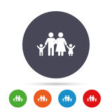 Family icon. Parents with children symbol. Family insurance. Round colourful buttons with flat icons. Vector Royalty Free Stock Photos