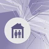 Family Icon on purple abstract modern background. The lines in all directions. With room for your advertising. Illustration Royalty Free Stock Photos