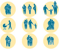 Family icon set. Family simple silhouette icons representing family and relationships Stock Images