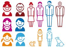 Family icon set,  Stock Photography
