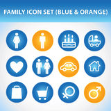 Family Icon Set. (Blue & Orange Stock Image